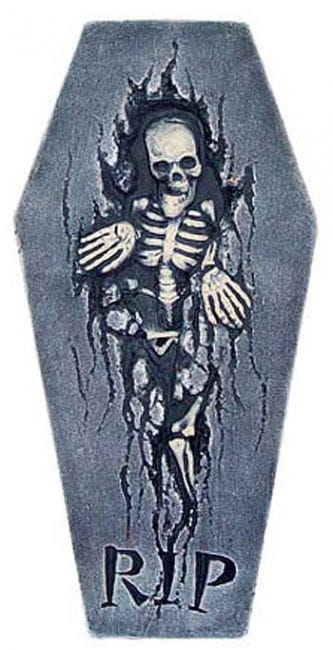 Rotten Tombstone with Skeleton