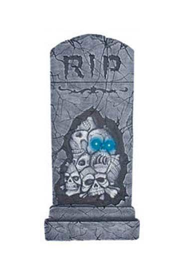 Grabstein mit Totenköpfen und LED Augen