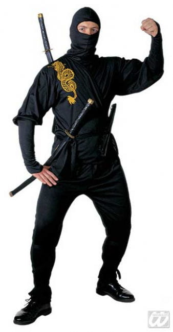 Black Ninja Costume Golden Dragon Gr. S