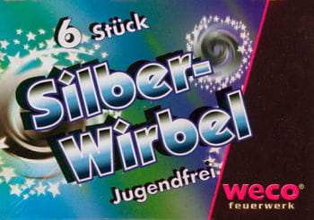 Silver swirls ground spinner 6 pieces
