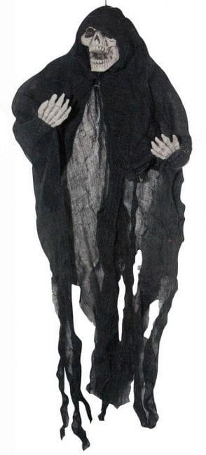Creepy skeleton hanging black