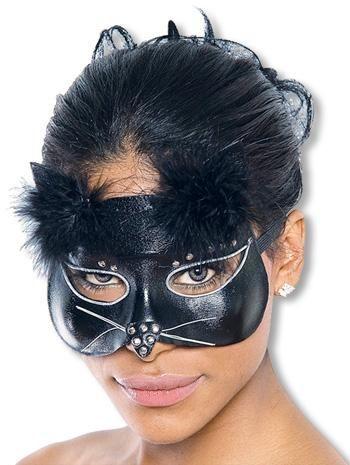 Glamour Katzenmaske lederoptik schwarz