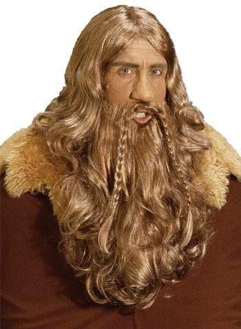 Wikinger Perücke und Bart kastanienbraun