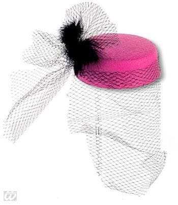 Pillbox Hat Jackie Pink with Feathers