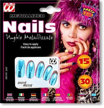 Metallic Fingernägel azurblau