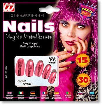 Metallic Fingernails Light Red