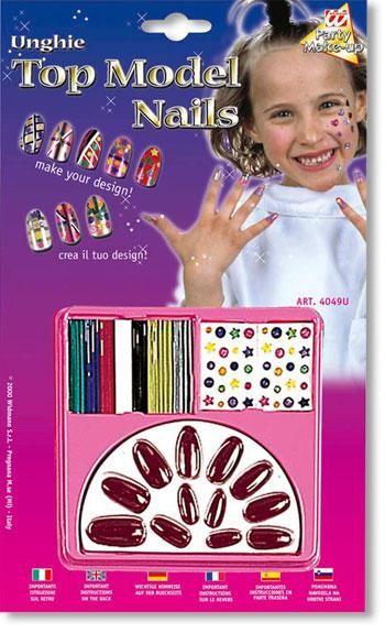 Children design nails red wine