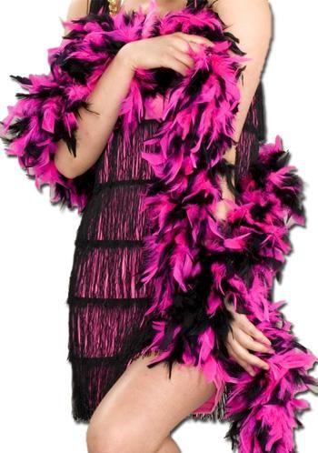 Straußenfederboa pink black