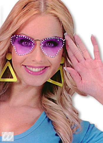 Party Glasses Butterfly Purple with Strass