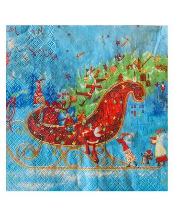 Napkins with Christmas Sled design