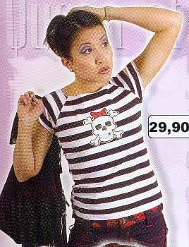 Black/White Shirt Stripes, White Skull on Front Size M