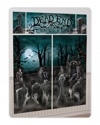 5 tlg. Halloween Wandfolien Set Friedhof