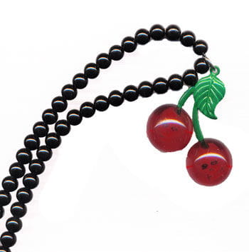 Necklace with cherries and skull