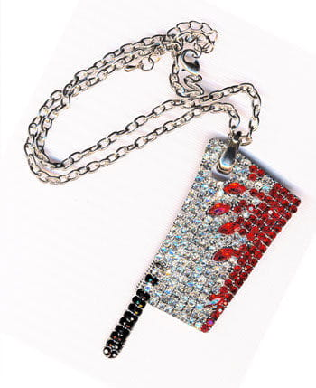 Meat Cleaver Pendant with Rhinestones