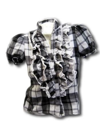 Chequered Frill Blouse M