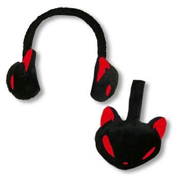 Earmuffs Kitty Black Red
