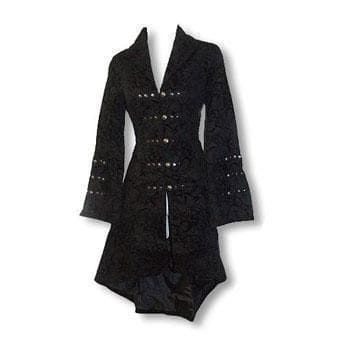 Gothic and Rockabilly Coat with Flock Print L