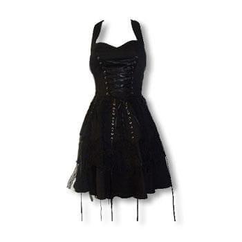 schwarzes Gothic Spitzenkleid XS