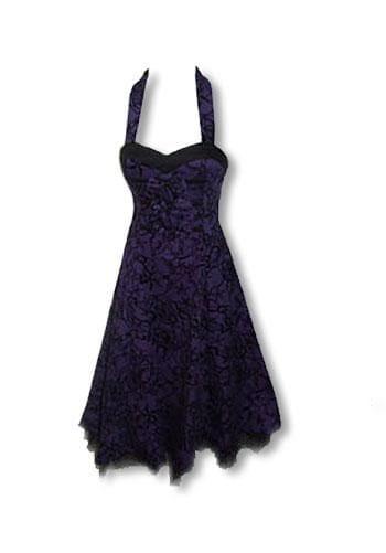 Rockabilly Kleid violett schwarz S