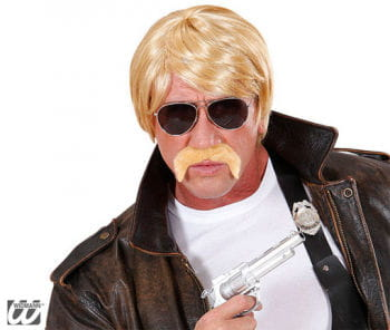 Agenten Wig Blond with Moustache and Glasses