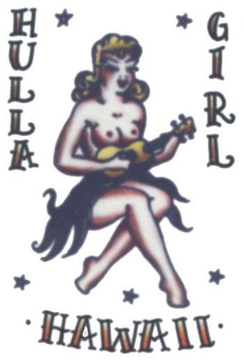 Hawaii Girl Aufklebe Tattoo