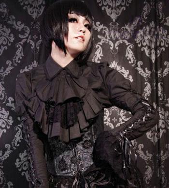 Lace blouse with jabot black