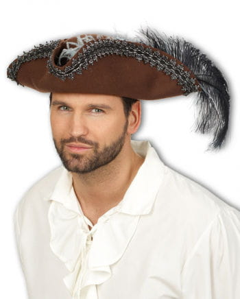 Pirate tricorn hat with feather & Trims