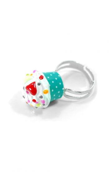 Cupcake Ring Grün Weiß