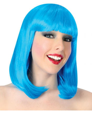 Showgirl wig with bangs blue