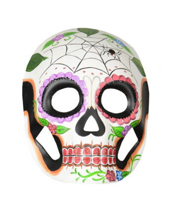 Day of the Dead mask with flowers & cobweb