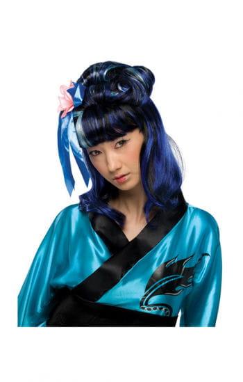Dragon Lady Perücke schwarz-blau