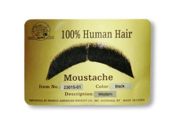 Real Hair Moustache Black Western Style