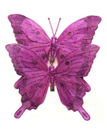 Glitzerschmetterlinge 2er Set 14 cm pink