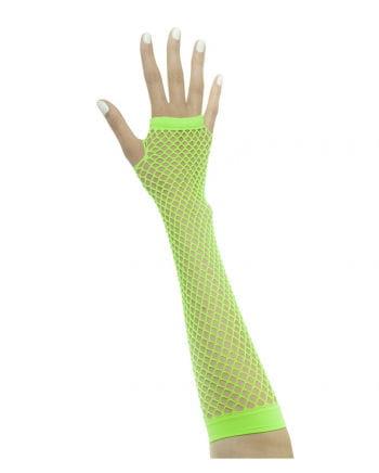 Fingerless gloves in network structure neon green
