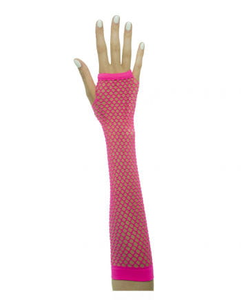 Fingerless gloves in network structure neon pink