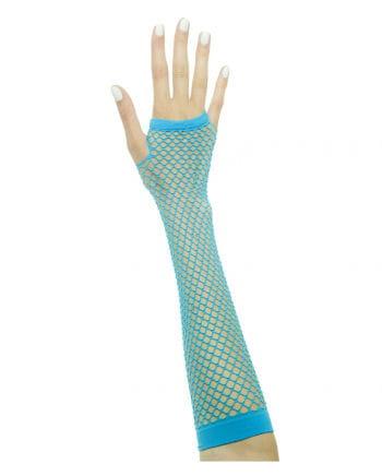 Fingerless fishnet gloves Neon Blue