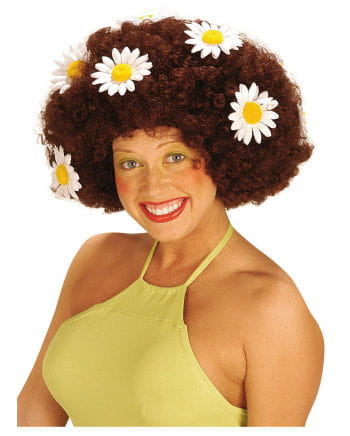 Flower Power Afro Wig Brown