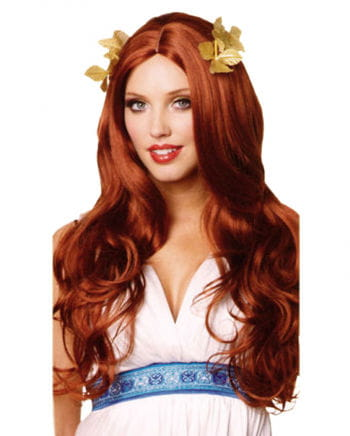 Goddess Wig with laurel leaves red