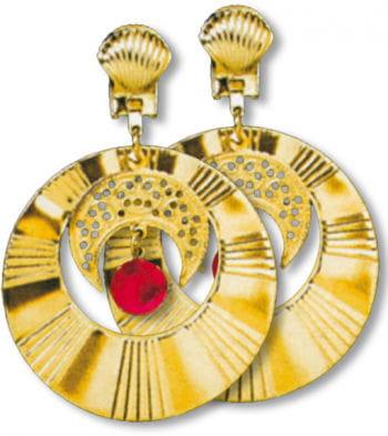 Goldene Ohrringe Halbmond mit Stein