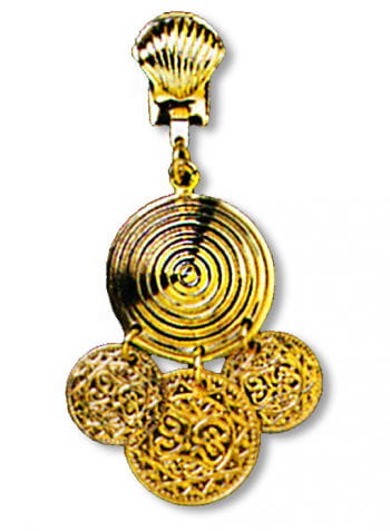 Golden Earrings Spiral with Coins