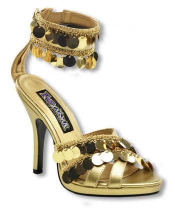 Goldene Sandaletten mit Fesselriemchen
