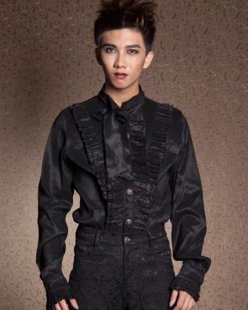 Gothic Herrenhemd mit Rüschen schwarz