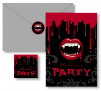 Halloween Invitation Cards Vampire Bite