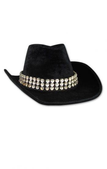 Lady black velvet hat with rhinestone