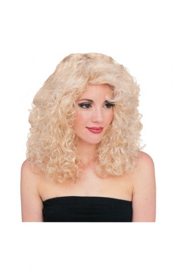 Blond curly wig Deluxe