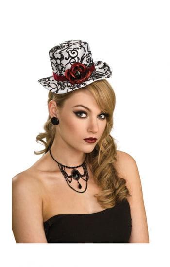 Mini Hut schwarz weiß mit Rose