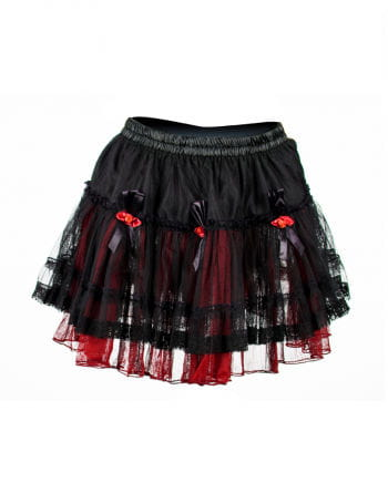 Mini skirt with tulle roses black-red