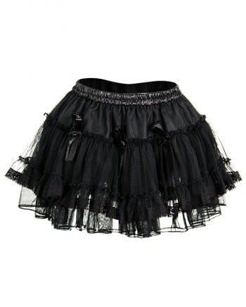 Black tulle mini skirt with roses