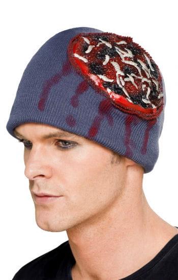 Mütze mit blutigem Latex Hirn