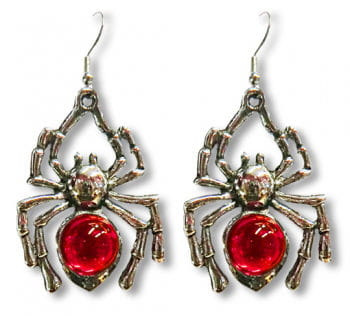 Spider Earrings with Red Stones